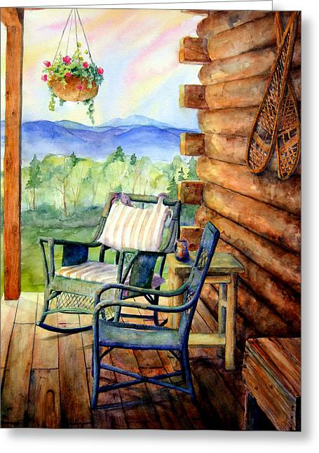 Log Cabins Greeting Cards - In Good Company Greeting Card by Mary Giacomini