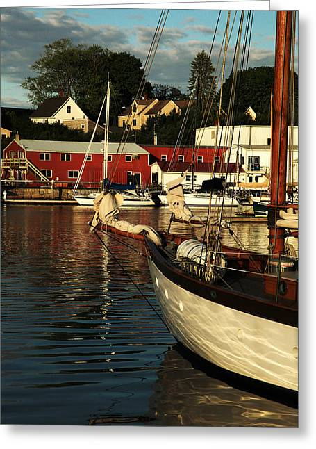 Boats At Dock Greeting Cards - In Harbor Greeting Card by Karol  Livote