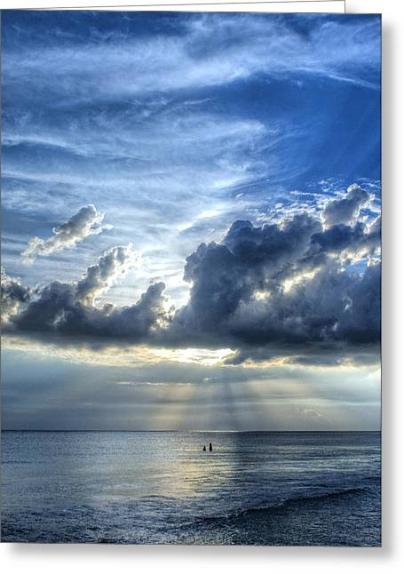 Sun Ray Greeting Cards - In Heavens Light - Beach Ocean Art by Sharon Cummings Greeting Card by Sharon Cummings
