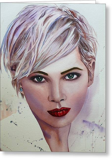 Pixie Cut Greeting Cards - In Her Eyes Greeting Card by Michal Madison