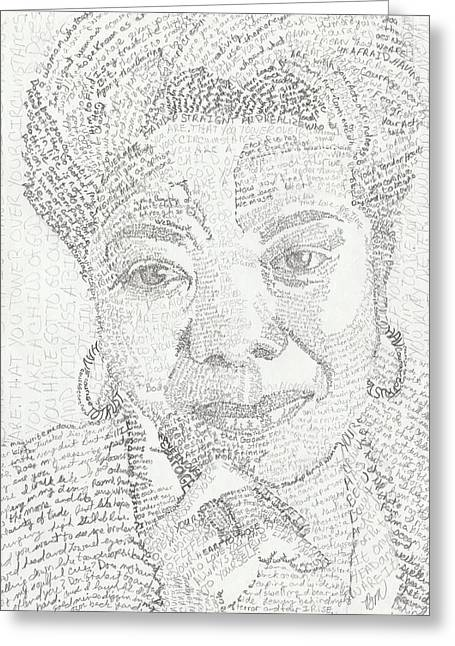 African-american Drawings Greeting Cards - In Her Own Words Maya Angelou Greeting Card by Beverly Marshall