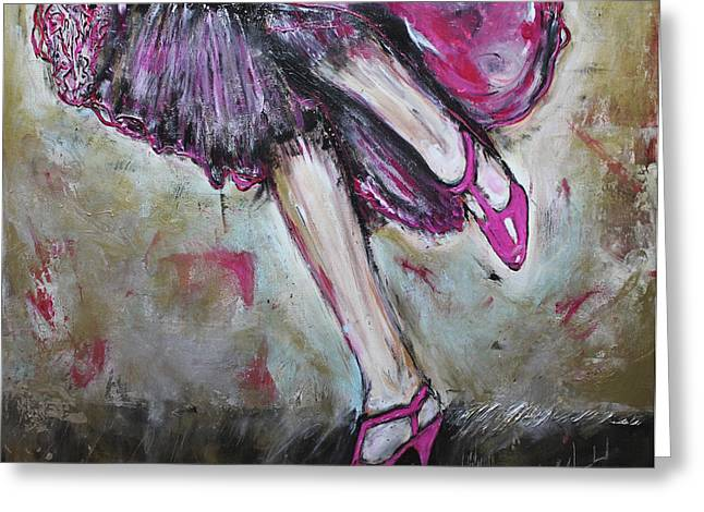 Fuchsia Dress Greeting Cards - In Her Shoes Too Greeting Card by Lucy Matta - Lulu