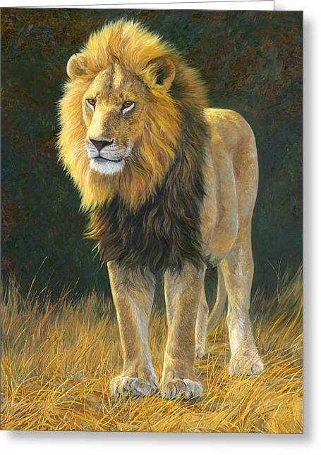 Lion Greeting Cards - In His Prime Greeting Card by Lucie Bilodeau