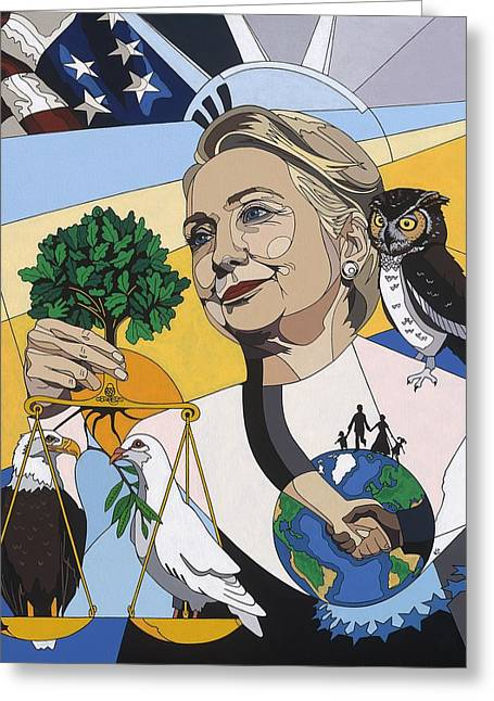 Secretary Of State Greeting Cards - In honor of Hillary Clinton Greeting Card by Konni Jensen