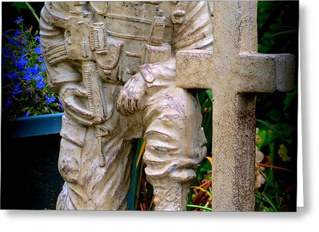 In Honor Of The Wounded Warrior Greeting Card by Kay Novy