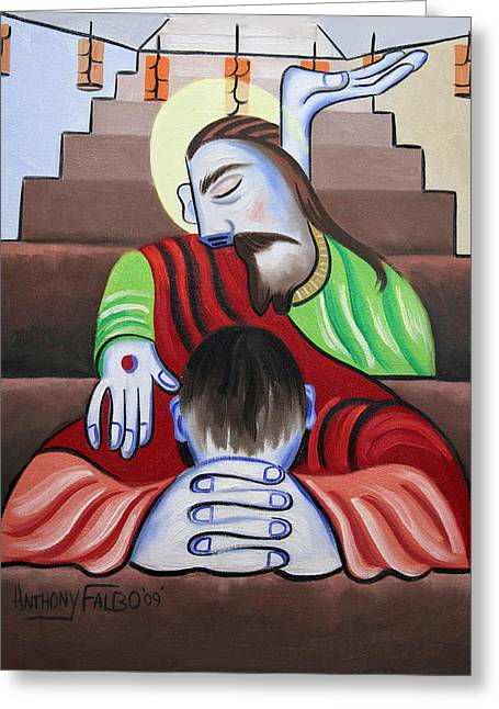 Famous Artist Greeting Cards - In Jesus Name Greeting Card by Anthony Falbo