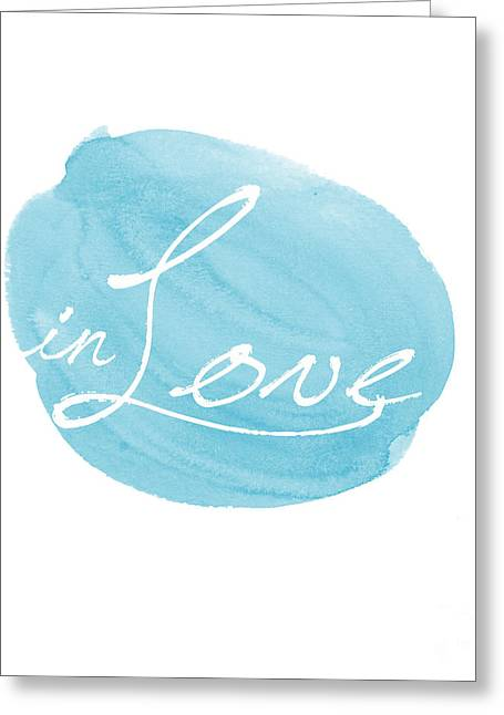 Typography Greeting Cards - in Love blue Greeting Card by Marion De Lauzun