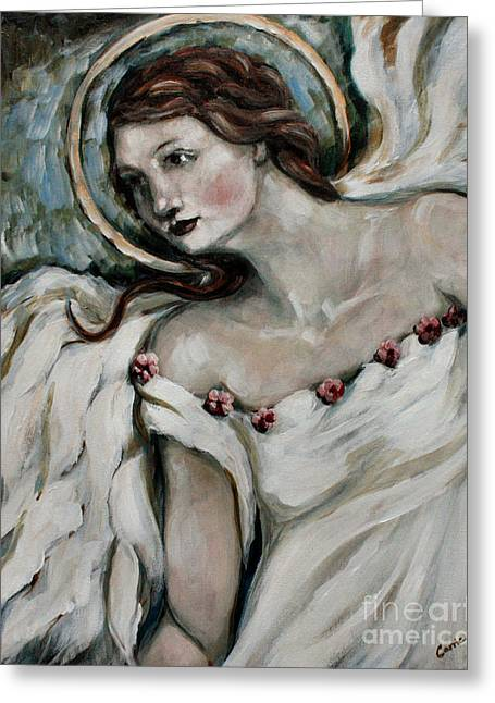 Religious Angel Art Greeting Cards - In Love Greeting Card by Carrie Joy Byrnes