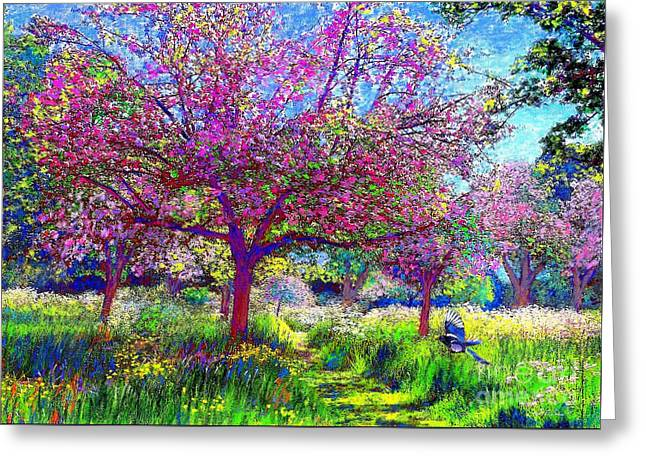 Wild Orchards Paintings Greeting Cards - In Love with Spring Greeting Card by Jane Small
