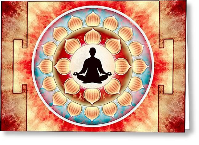 Chakra Rainbow Digital Art Greeting Cards - In Meditation - Yoga Lotus Greeting Card by Dirk Czarnota