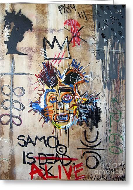 In Memory Basquiat Greeting Card by Bela Manson