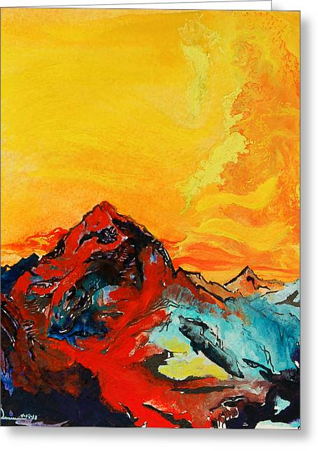 In Mountains Greeting Card by Joseph Demaree