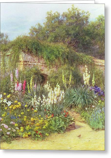 Hollyhocks Greeting Cards - In Munstead Wood Garden Greeting Card by Helen Allingham
