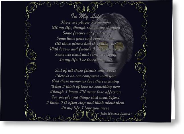Lennon Mixed Media Greeting Cards - In My Life Golden Scroll Greeting Card by Movie Poster Prints
