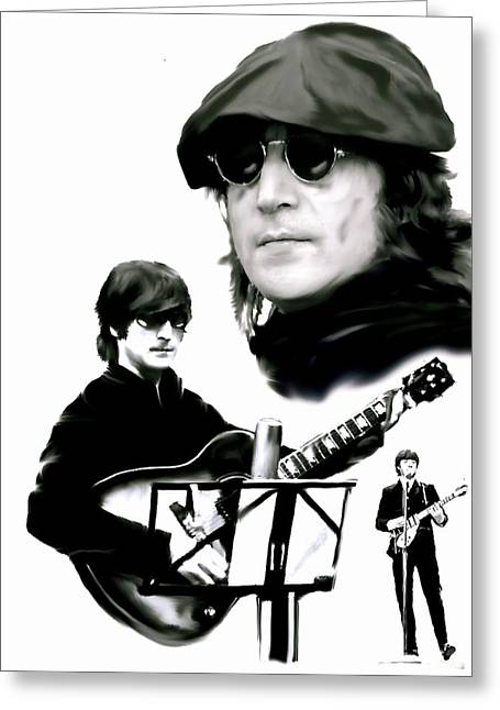 Remembering The Life Greeting Cards - In My Life  John Lennon Greeting Card by Iconic Images Art Gallery David Pucciarelli