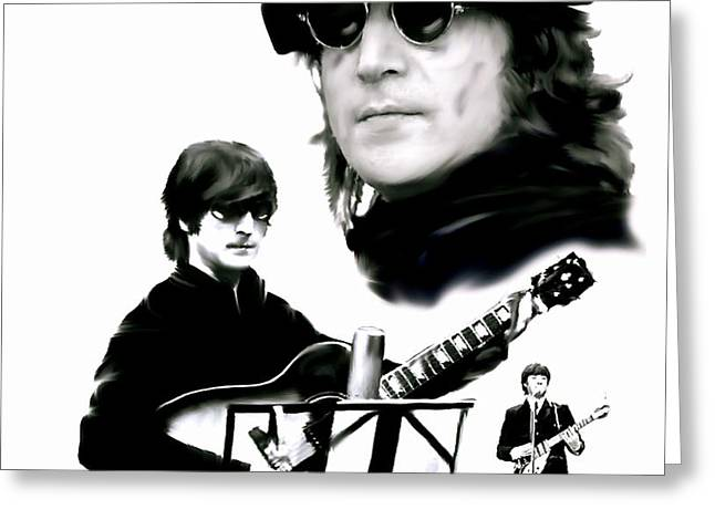 The Beatles Images Greeting Cards - In My Life  John Lennon Greeting Card by Iconic Images Art Gallery David Pucciarelli