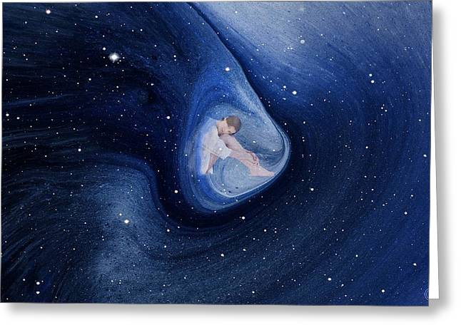 Capsule Greeting Cards - In my safe dreambubble through space Greeting Card by Gun Legler
