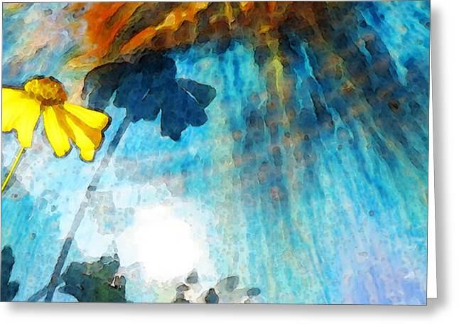 Daisies Mixed Media Greeting Cards - In My Shadow - Yellow Daisy Art Painting Greeting Card by Sharon Cummings