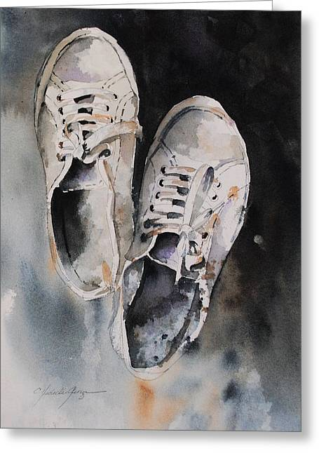 Sneakers Paintings Greeting Cards - In My Shoes Greeting Card by Christine Hodecker-George