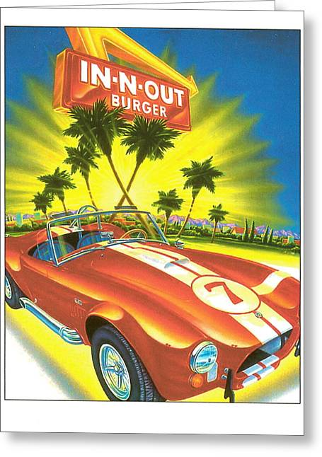 Burger Greeting Cards - In N Out Burger Corvette Poster Greeting Card by Desiderata Gallery