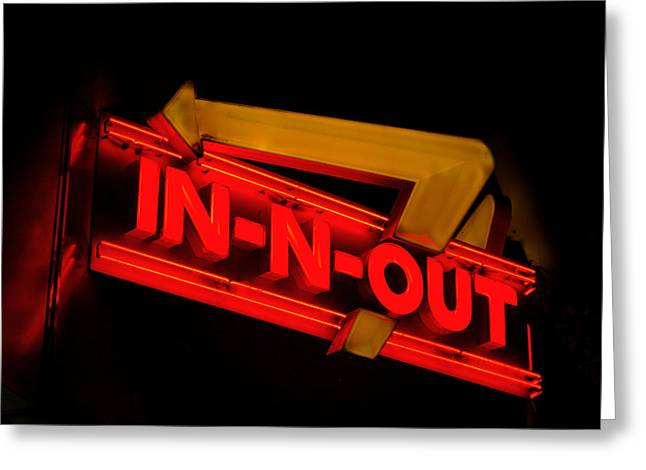 Out Pyrography Greeting Cards - IN-N-OUT Burger Sign Greeting Card by DUG Harpster