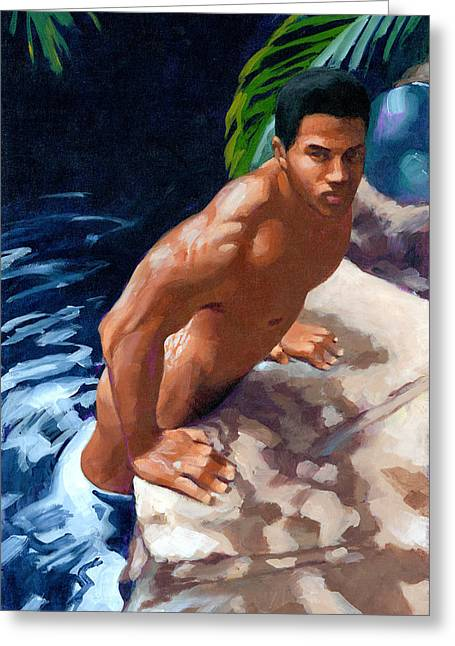 Naked Men Greeting Cards - In or Out Greeting Card by Douglas Simonson