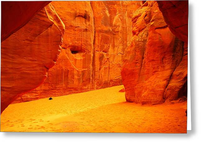 Sand Stand Greeting Cards - In Orange Chasms Greeting Card by Jeff  Swan