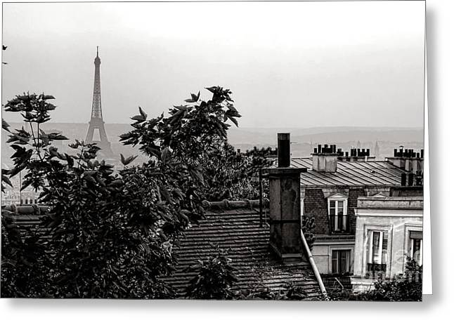 Vintage Eiffel Tower Greeting Cards - In Paris Greeting Card by Olivier Le Queinec