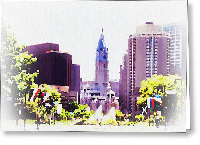 Philadelphia Digital Art Greeting Cards - In Philadelphia Greeting Card by Bill Cannon