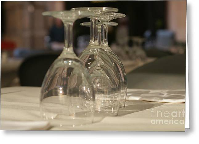 Wine-glass Greeting Cards - In Piazza 1 Greeting Card by Carol Weitz