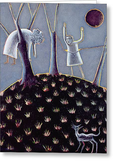 Eerie Greeting Cards - In Praise Of Expectation, 1991 Oil On Canvas Greeting Card by Celia Washington