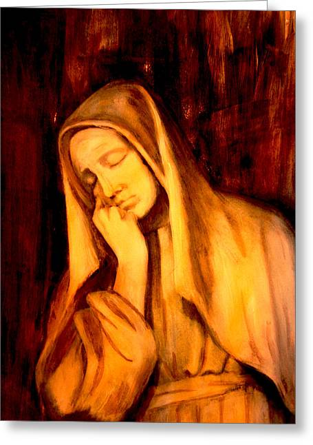 Rosary Mixed Media Greeting Cards - In Prayer Greeting Card by Giorgio Tuscani