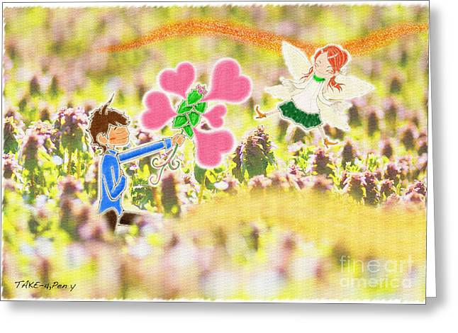 Fairy Hearts Pink Flower Greeting Cards - In Purple Deadnettle forest Greeting Card by Pen Osawa