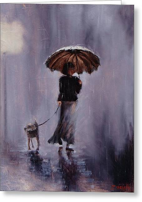 Dog Walking Greeting Cards - In Rain or Shine Greeting Card by Laura Lee Zanghetti