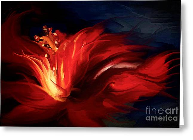 Freeform Greeting Cards - In Red Greeting Card by Shanina Conway