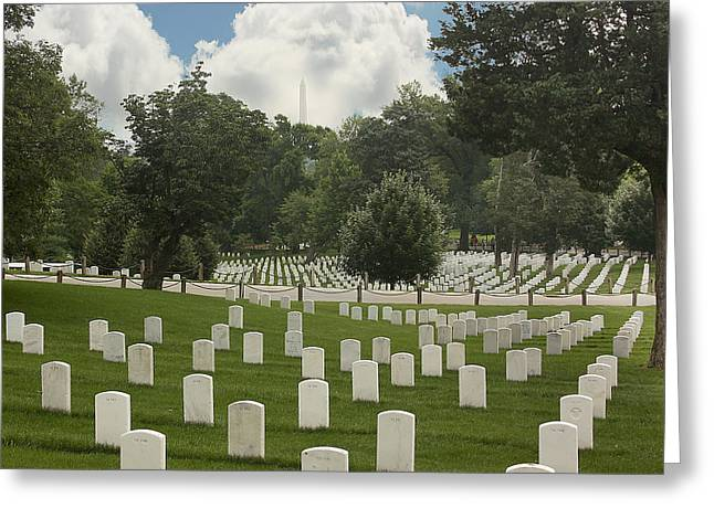Grave Markers Greeting Cards - In Rememberance-Arlington Greeting Card by Kim Hojnacki