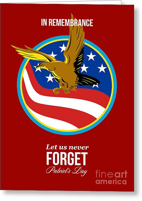 In Remembrance Patriots Day Retro Poster Greeting Card by Aloysius Patrimonio