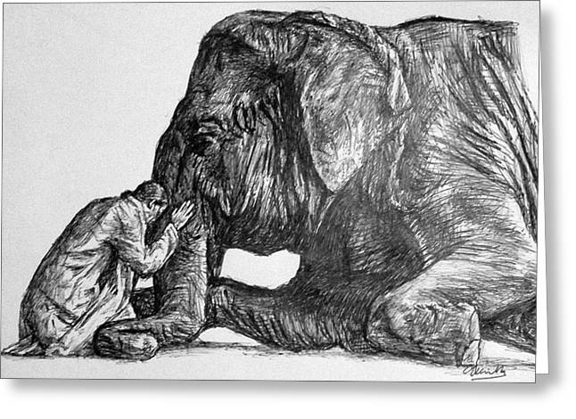 Reverence Drawings Greeting Cards - In Reverence Greeting Card by Charith Pelpola