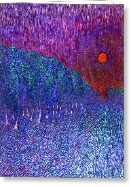 Vivid Colour Drawings Greeting Cards - In Road Greeting Card by Wojtek Kowalski