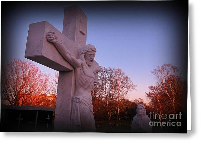 Crucifixtion Greeting Cards - In Sacrifice is Peace Greeting Card by John Malone