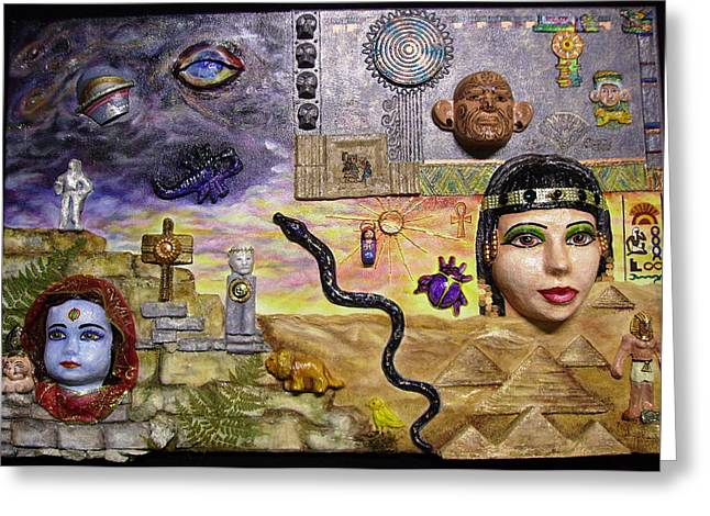 Pharaoh Mixed Media Greeting Cards - In Search of Universal Truth Greeting Card by Jan Wendt