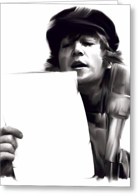 Beatles Canvas Greeting Cards - In Studio John Lennon Greeting Card by Iconic Images Art Gallery David Pucciarelli