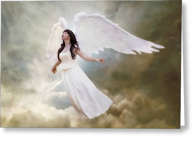 Guardian Angel Digital Greeting Cards - In the arms of the Angels Greeting Card by Linda Lees