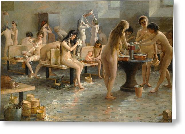 In The Bath House Greeting Card by Vladimir Alexandrovich Plotnikov