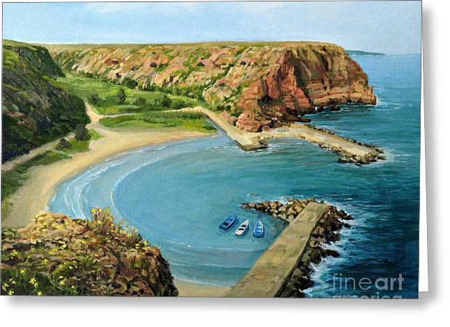 Panoramic Ocean Paintings Greeting Cards - In The Bay Greeting Card by Kiril Stanchev