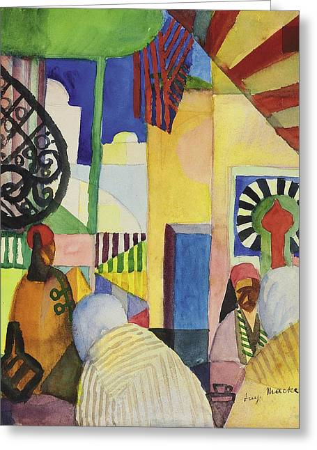 Marketplace Greeting Cards - In The Bazaar, 1914 Greeting Card by August Macke