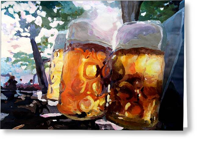 Recently Sold -  - Stein Greeting Cards - In The Beer Garden Greeting Card by M Bleichner