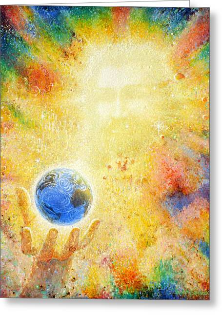 Planet Paintings Greeting Cards - In the Beginning Greeting Card by Graham Braddock