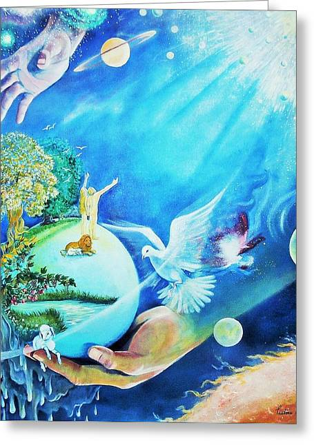 Creationist Paintings Greeting Cards - In the Beginning Was the Word Greeting Card by Pauline L Genereux