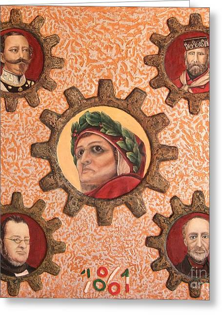 Gear Reliefs Greeting Cards - In the beginning was the word then was Italian. Greeting Card by Anna Maria Guarnieri